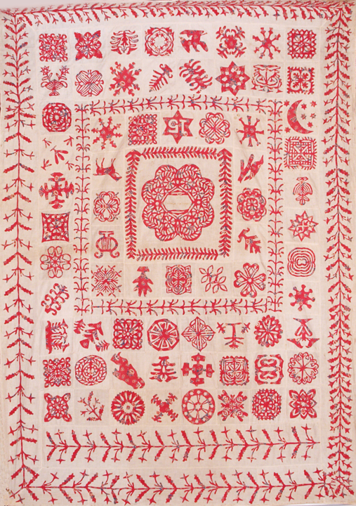 An image of a Turkey Red Paper Cut Applique Coverlet