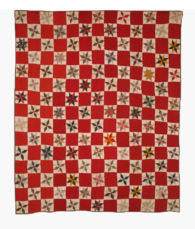 Q8558 LeMoyne Star with Turkey Red Joining Blocks