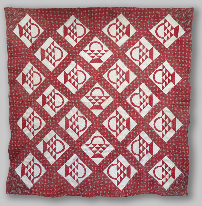 Q8620 Turkey Red Calico Unusual Basket Quilt