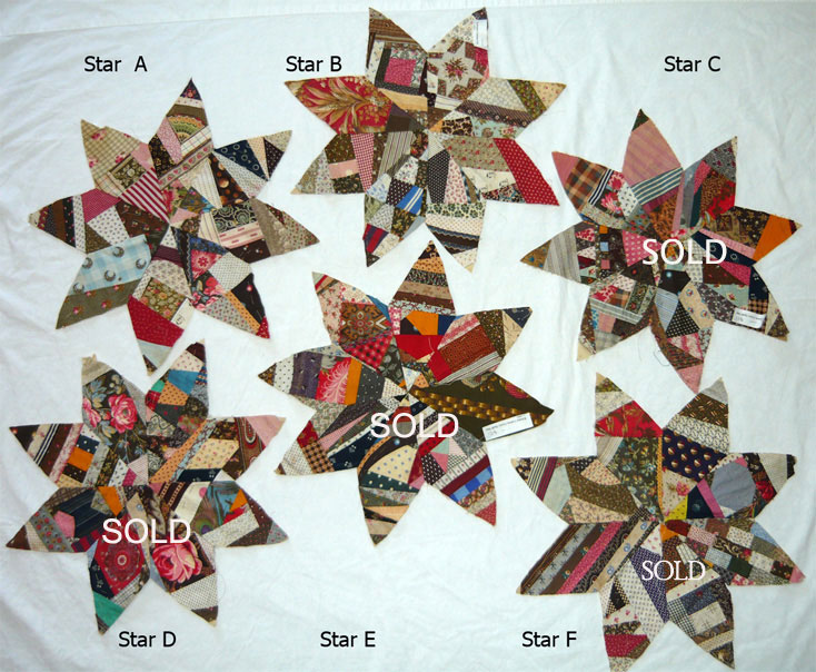 QB6 Eight Point Cotton Crazy Quilt Star Quilt Blocks