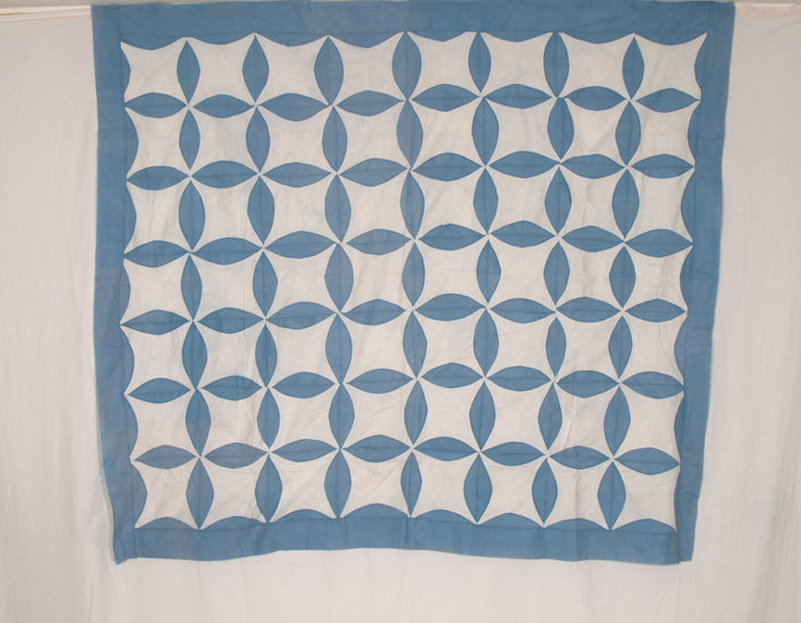QT216 Blue & White Lemon Peel Quilt Top