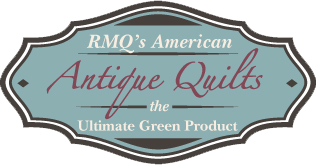 Logo for Rocky Mountain Quilts. Reads: RMQ's American Antique Quilts, the Ultimate Green Product