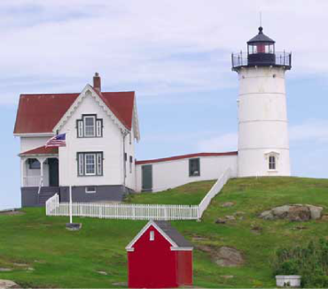 An image of Cape Neddick light house, in York, Maine.