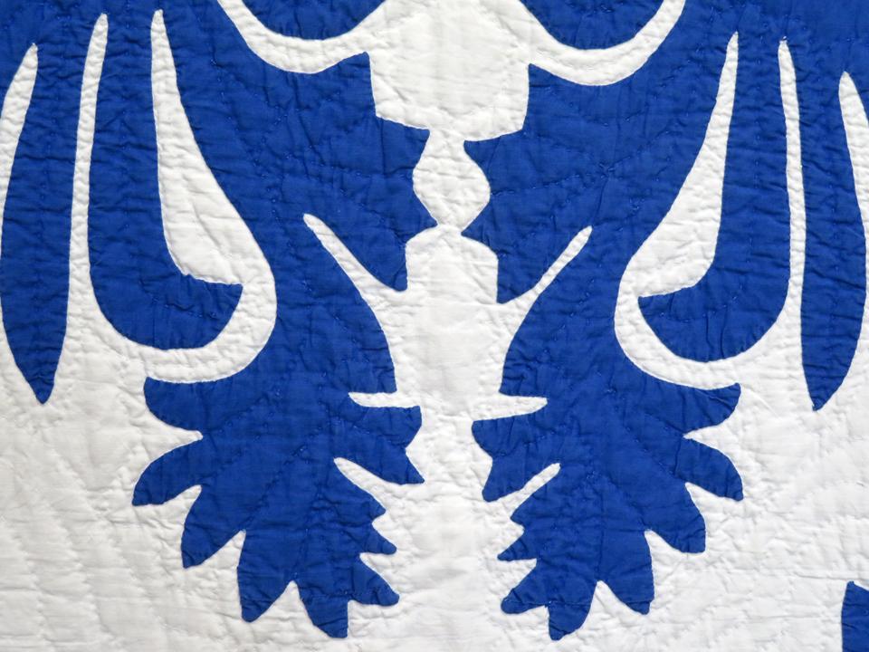 Congg blue and white hawaiian applique
