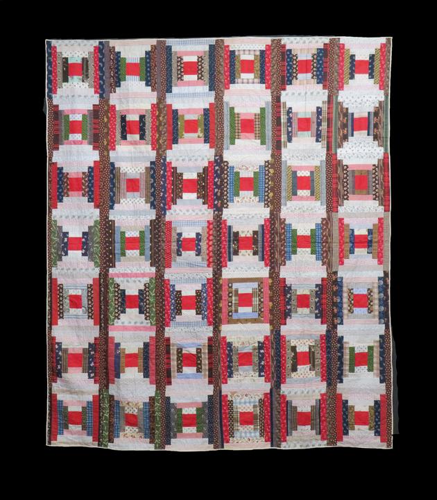 Vintage Velveteen Log Cabin Pattern Quilt Square