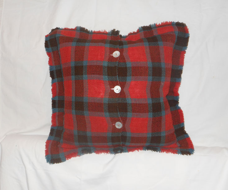 UF115 Plaid Homespun Wool Pillow