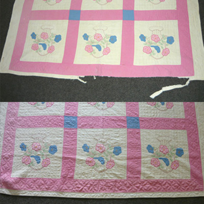 The restoration process, depicting a before and after of a pink quilt with a torn and frayed border.